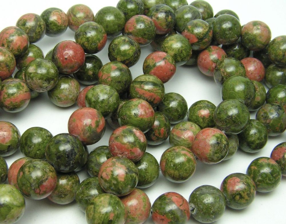 20 x 8 mm Round Natural Unakite Round Beads